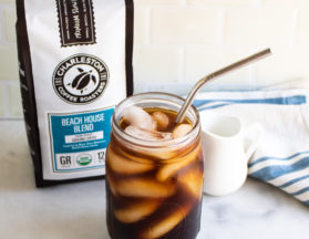 Cold Brew Coffee on Ice with Beach House Blend Coffee Bag