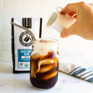 Cold Brew Coffee with Creamer and Beach House Blend