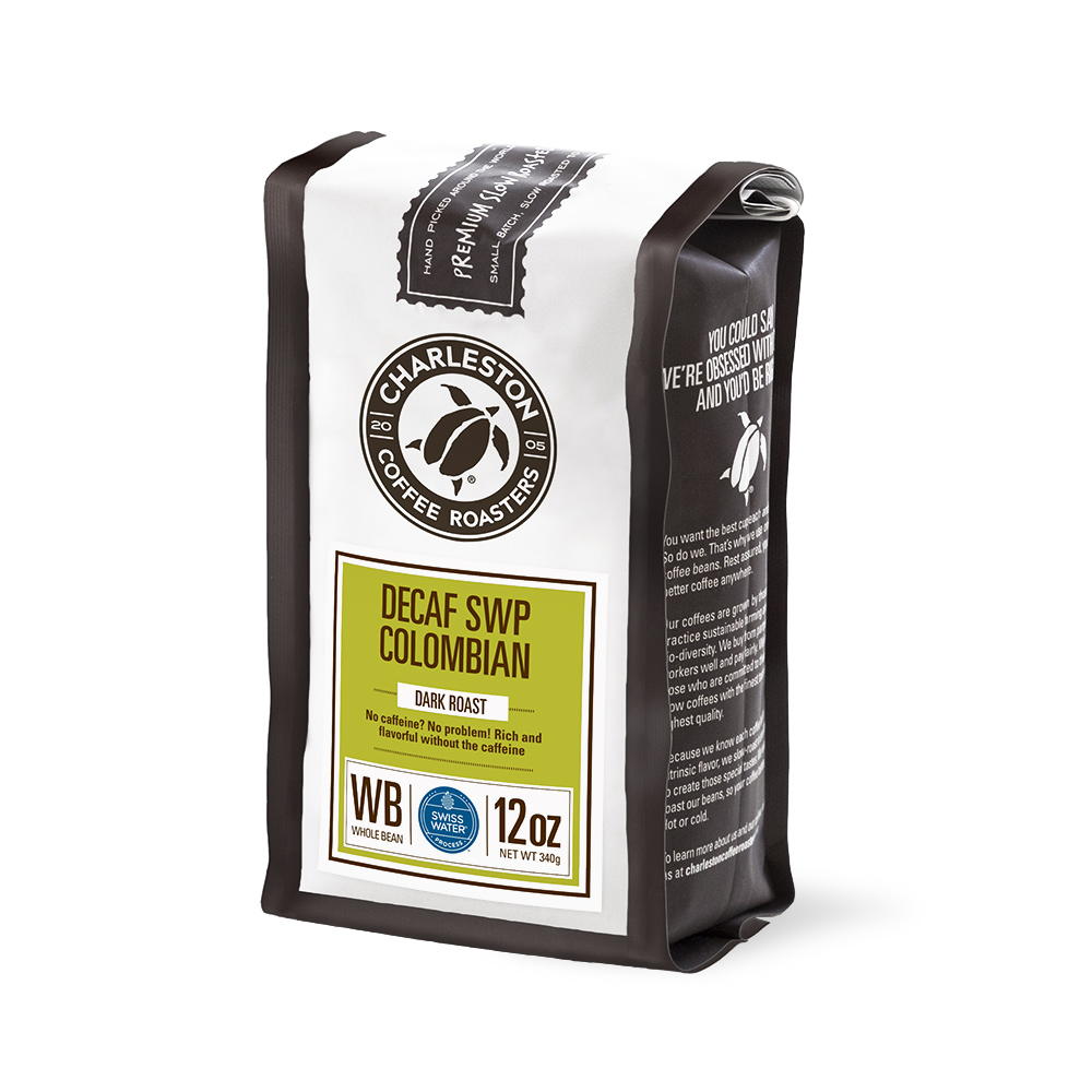 Charleston Coffee Roasters Decaf Swiss Water Process Colombian Whole Bean Coffee (12 ounce Bag)