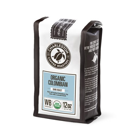 Charleston Coffee Roasters Organic Colombian Whole Bean Coffee (12 ounce Bag)