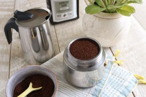 Charleston Coffee Roasters - How to Use a Stovetop Espresso Maker - Fill the Bottom with Ground Coffee