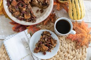 Charleston Coffee Roasters Coffee Pecan Pie Bread Pudding - Overhead with cup of Coffee