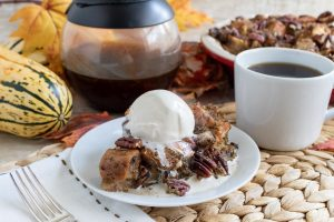 Charleston Coffee Roasters Coffee Pecan Pie Bread Pudding - Slice on a Plate with Vanilla Ice Cream